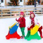 Patines niño de patinaje sobre hielo